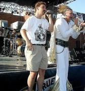 James singing with his friend Vince Vance at Taste of Dallas in West End